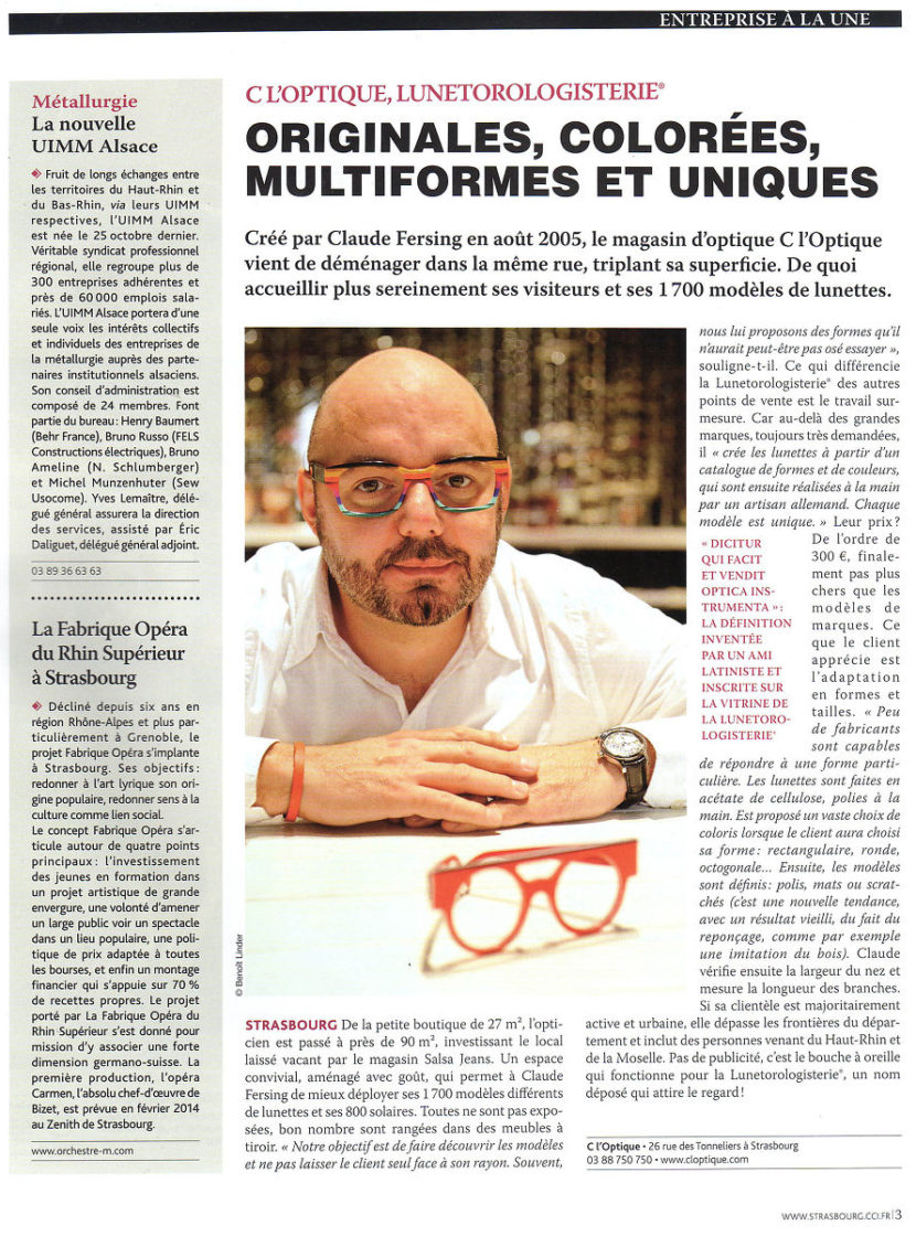article de journal C l'Optique Claude Fersing C l'optique lunetorologisterie opticien indépendant strasbourg alsace bas rhin claude fersing lunetorologisterie