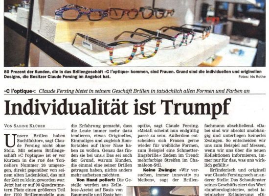 article de journal allemand C l'optique lunetorologisterie opticien indépendant strasbourg alsace bas rhin claude fersing lunetorologisterie